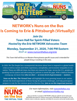 Benedictines for Peace is inviting you to Network's Nuns on the Bus virtual stop in Erie.
