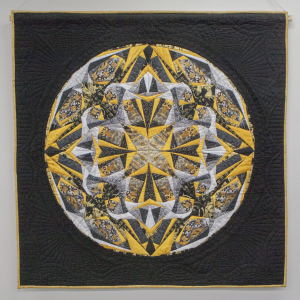 Mandala in Black and Gold by Janet Houk, Obl