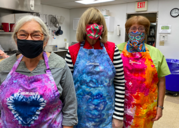 Ice-dyed aprons