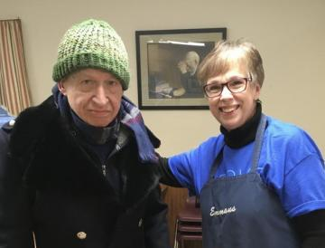 Joan Martter with soup kitchen guest, Tom