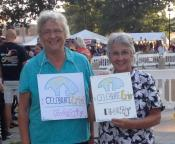Sisters Mary Miller, director of Emmaus Ministries, and Mary Lou Kownacki, Emmaus board member, took the opportunity to speak out against bigotry and racism while enjoying the annual Celebrate Erie Days, Aug. 18-20.