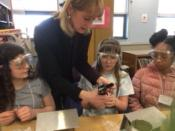 Students with instructor, Dianne Porter, forming the bird houses at Chestnut Hill Elementary School in Millcreek.