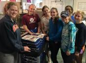 Villa students with their pans of lasagna.