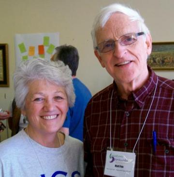 Carol Vaccariello with Matthew Fox at Creation Spirituality Communities Conference