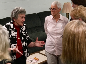 Sister Joan Chittister in conversation at a 2019 retreat