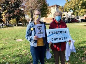 Katie Gordon, left, and Benedictine Sr. Rosanne Lindal-Hynes at a Count Every Vote rally Nov. 4, 2020, in Erie, Pennsylvania.