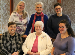 Care for the Earth committee: (seated, L to R) Sisters Judith Trambley, Annette Marshall, Jacqueline Sanchez-Small, (standing, L to R) Sisters Kathy McCarthy, Pat Lupo, and Cindy Hoover.