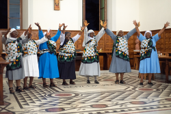 Sisters from Africa dance during the cultural celebration the final evening of the Symposium. Photo: Br. Simon Stubbs, OSB, Sant' Anelsmo